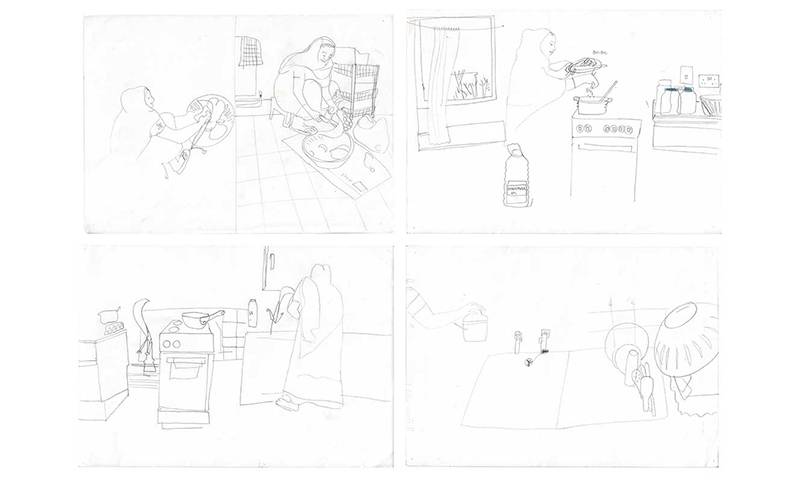 Drawings by Judit Ferencz: Cooking at Robin Hood Gardens