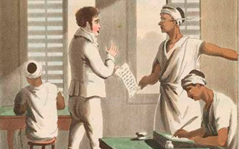 A European officer and Indian clerks at a cutcherry, nineteenth century. Drawn by Charles D'Oyly, Plate III, from D'Oyly, The European in India: From a Collection of Drawings by Charles Doyley, Esq. (1813, hand colour on aquatint). ©British Libra