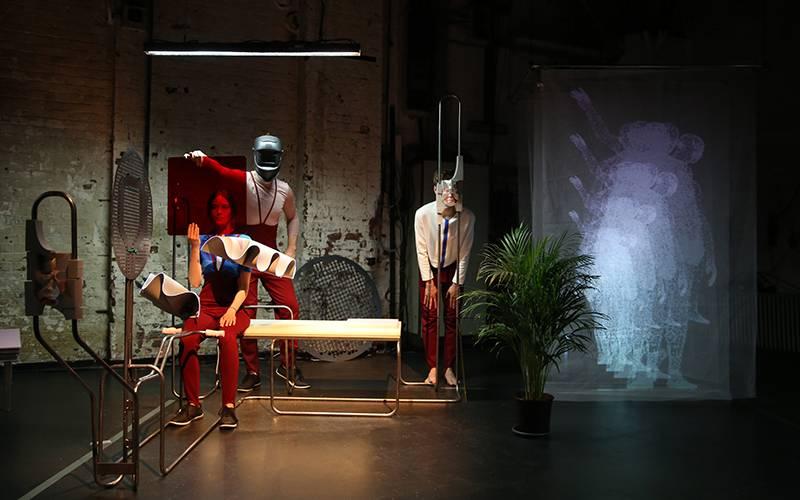 Thomas Pearce, 'Jakob K. Der Neue Mensch'. Set design, video work and artistic collaboration with Mara Kanthak and performance makers Heike Bröckerhoff, Moritz Frischkorn, Jonas Woltemate. Performed at Kampnagel, Hamburg, May 2018. Photographer: Anja Beut