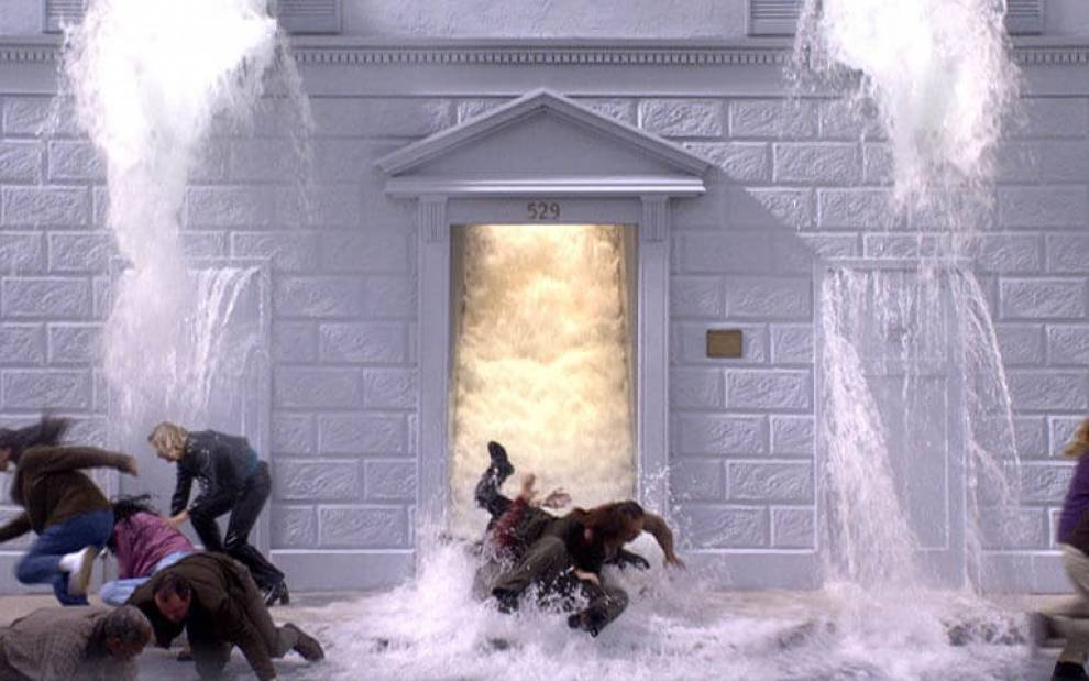 PG17  'The Deluge (Going Forth by Day)', still from video installation by Bill Viola (2002)