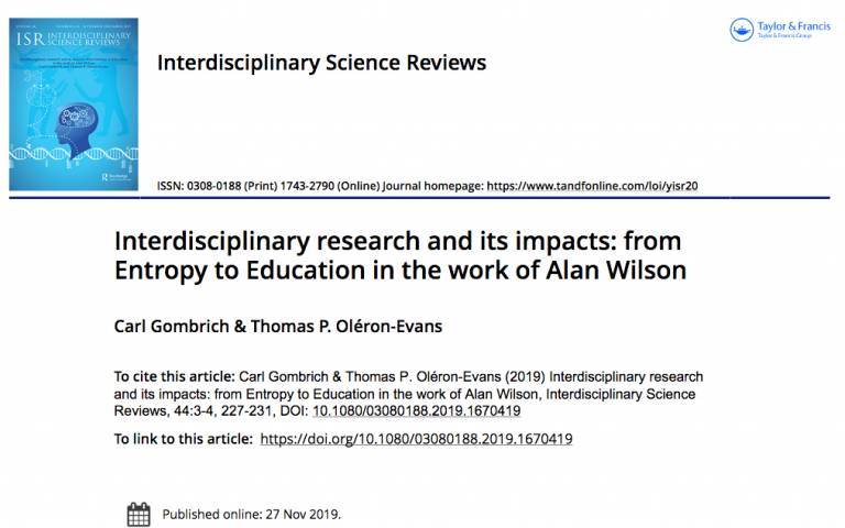 Interdisciplinary research and its impacts: from Entropy to Education in the work of Alan Wilson
