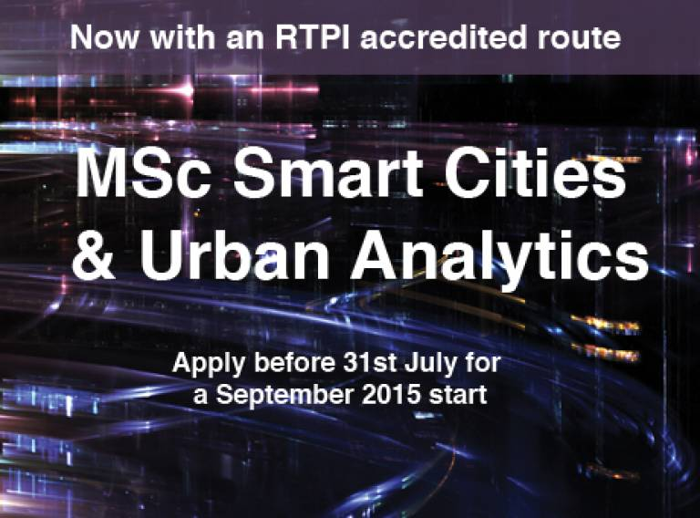 RTPI accredited MSc Smart Cities