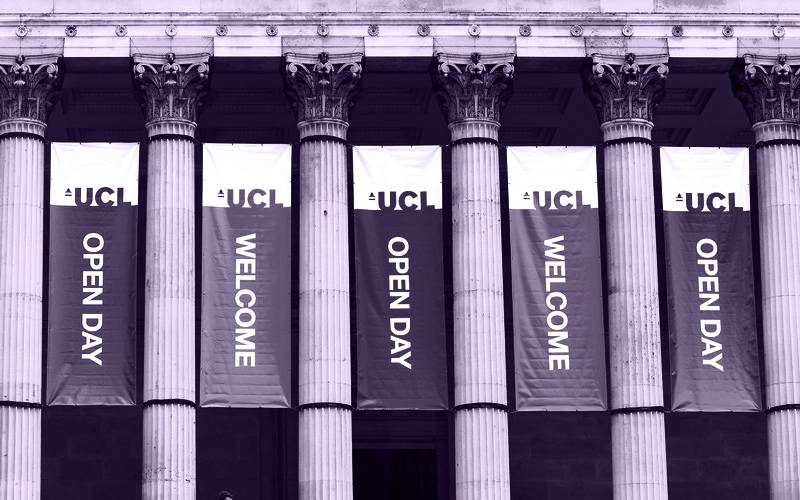 Open day banners in the main quad portico at UCL