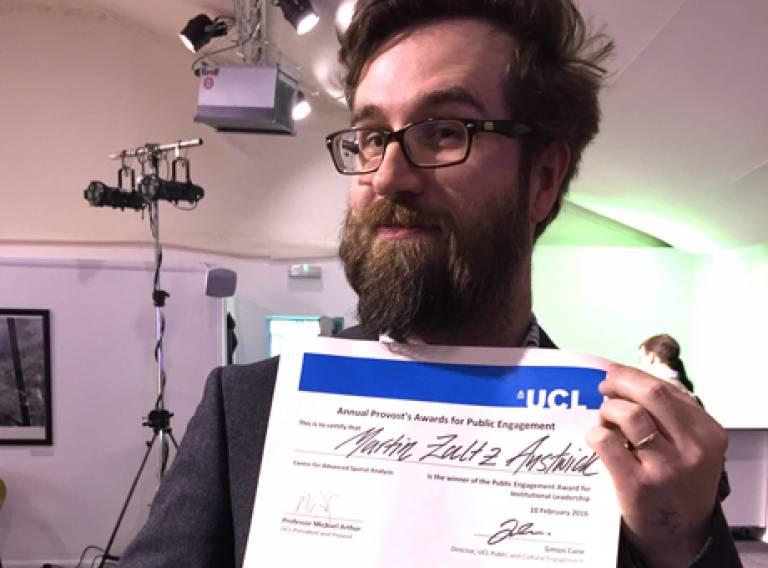 Martin Zaltz Austwick wins Institutional leadership award at UCL