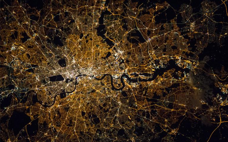 Birds eye view of London at night