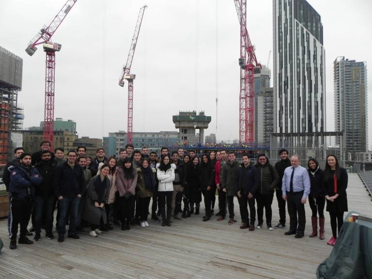 Students assemble at Elephant and Castle site