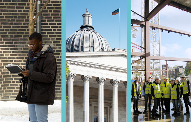 Collage of three images: Student stood in snow, UCL building and students stood in construction site