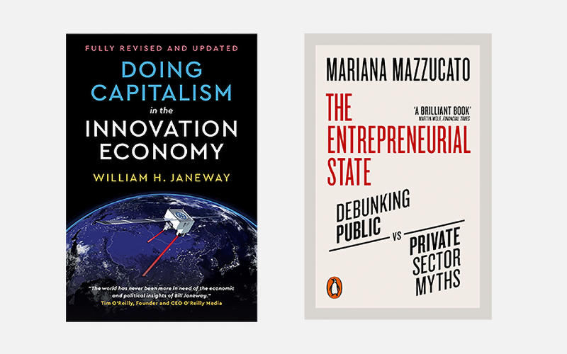 Cover images of Doing Capitalism and The Entrepreneurial State