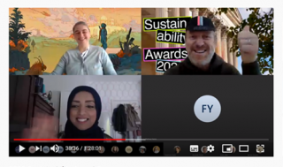 Screenshot of virtual green impact awards ceremony