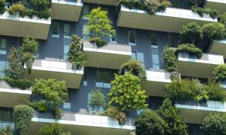 Planted balconies provide shading for flats