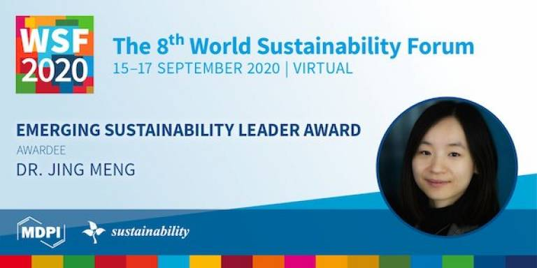 Dr Jing Meng awarded the Emerging Sustainability Leader Award