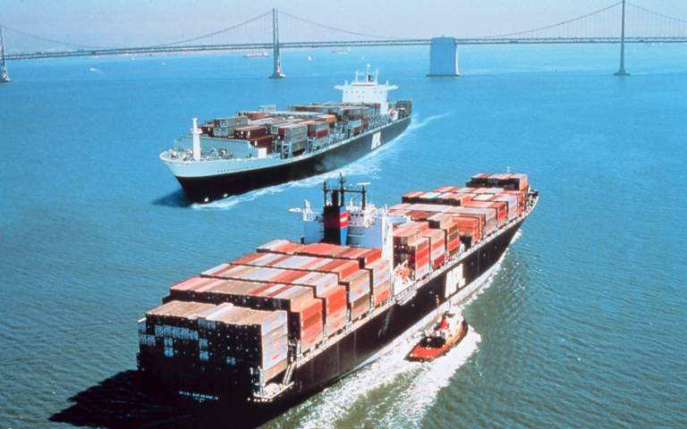 Two container ships in the water