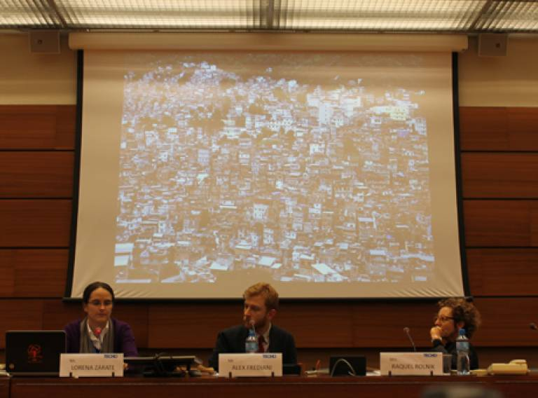 DPU staff at side-event on Right to Housing at the 25th Session of Human Rights Council in Geneva