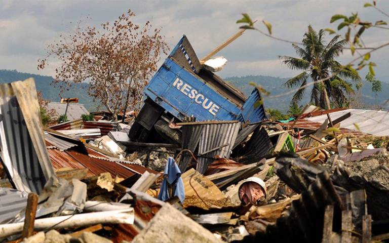 Wreckage and debris are seen at the quake-hit Petobo village in Palu on 11 October 2018.