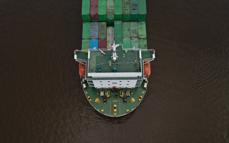 Aerial view of container ship - Photo by Ali Yahya on Unsplash