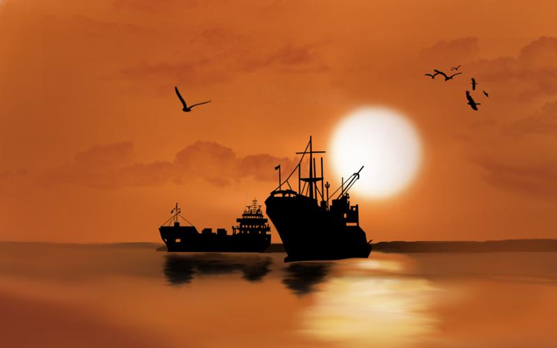 Digital image of ships at sea