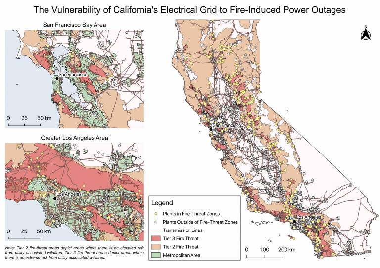 Map showing The Vulnerability of California's Electrical Grid to Fire-Induced Power Outages