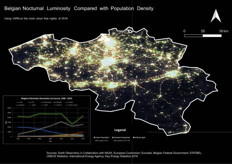 Map showing Belgian Nocturnal Luminosity Compared with Population Density