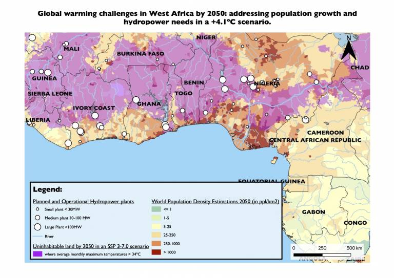 Map showing Global Warming Challenges in West Africa by 2050