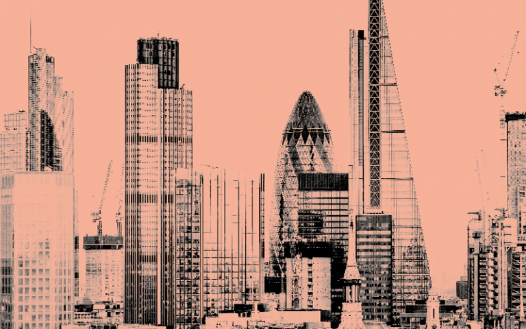 Image shows city of London skyline with pink background