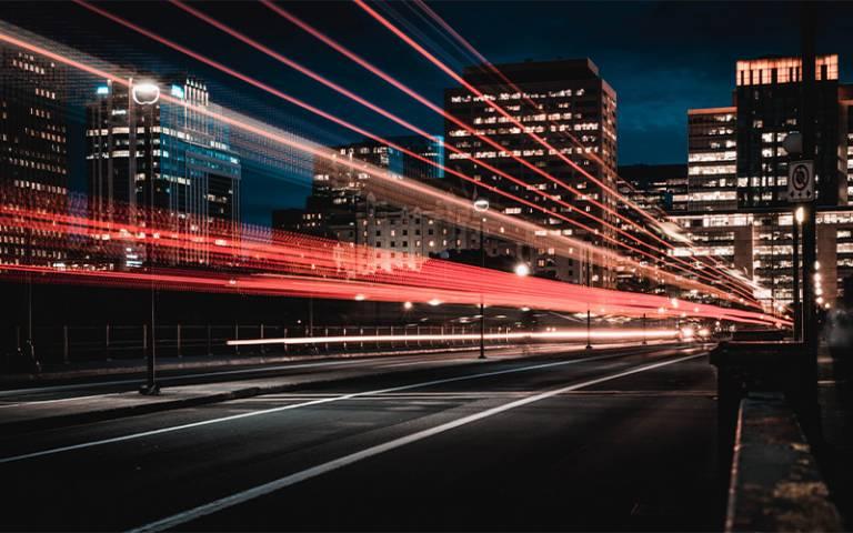 blurred lights on a street