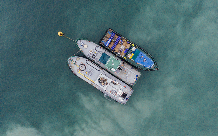 Aerial photo of ship fleet