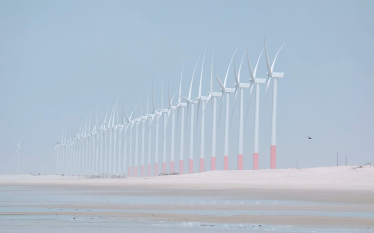 Photo shows a row of wind turbines