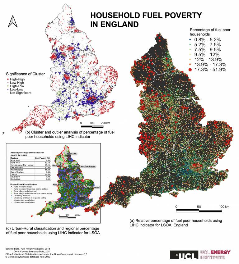Map showing Household fuel poverty in England