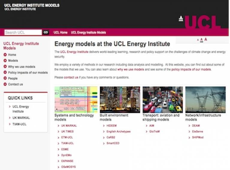 UCL Energy Institute modelling website