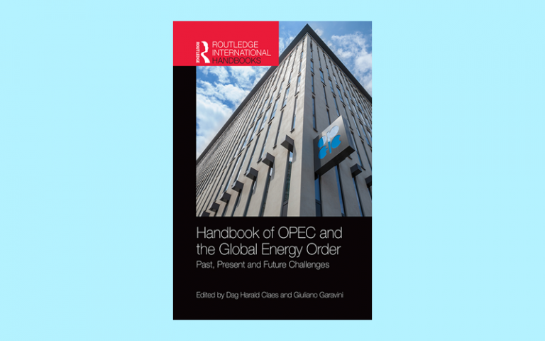 Image shows the cover of the Handbook of OPEC and the Global Energy Order on a blue background. The book cover shows a photo of the OPEC HQ building with a blue sky background.