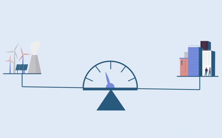 A scale demonstrating the balance between energy supply and demand
