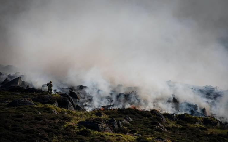 UK wildfire on hillside