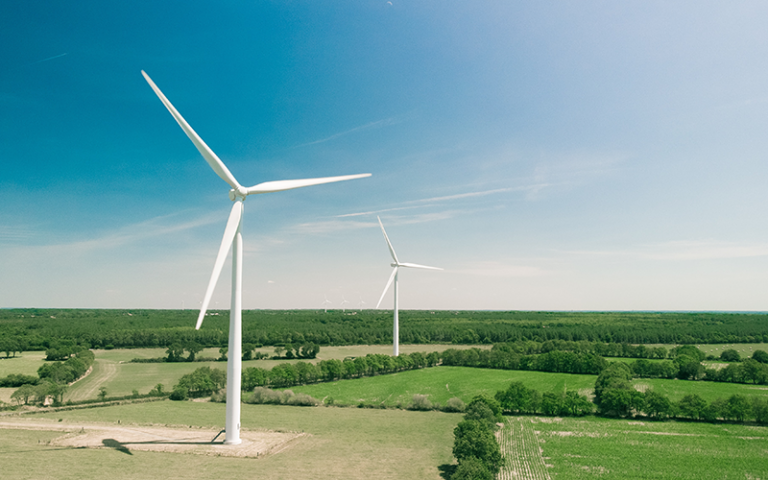 Photo shows wind turbines on a grassy green field.