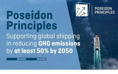 """Poster for the Poseidon Principles, captioned """"Supporting global shipping in reducing GHG emissions by at least 50% by 2050"""""""