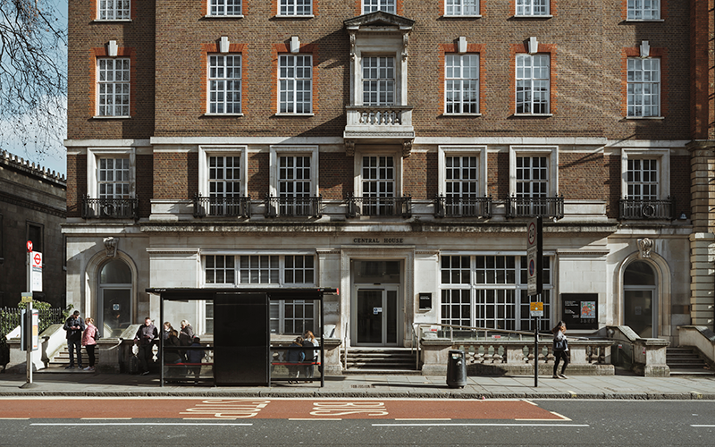 Photo shows the entrance and facade of Central House, 14 Upper Woburn Place