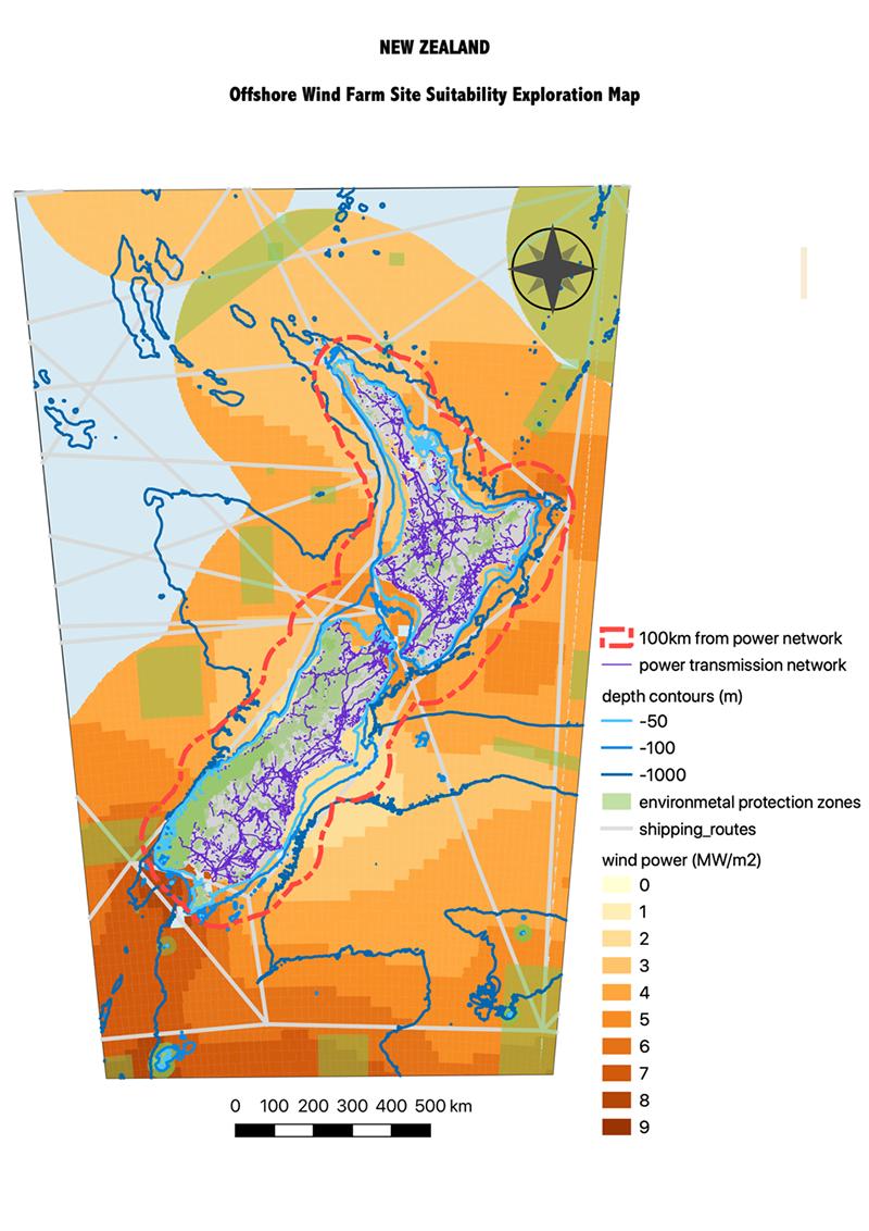 New Zealand offshore wind farm site suitability