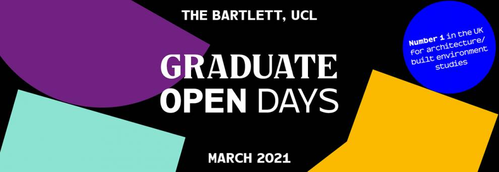 Bartlett Graduate Open Day banner with abstract shapes