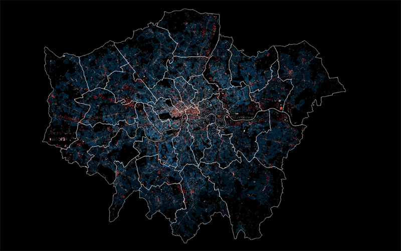 Image shows a map of London colour-coded using energy data (using the 3DStock model)