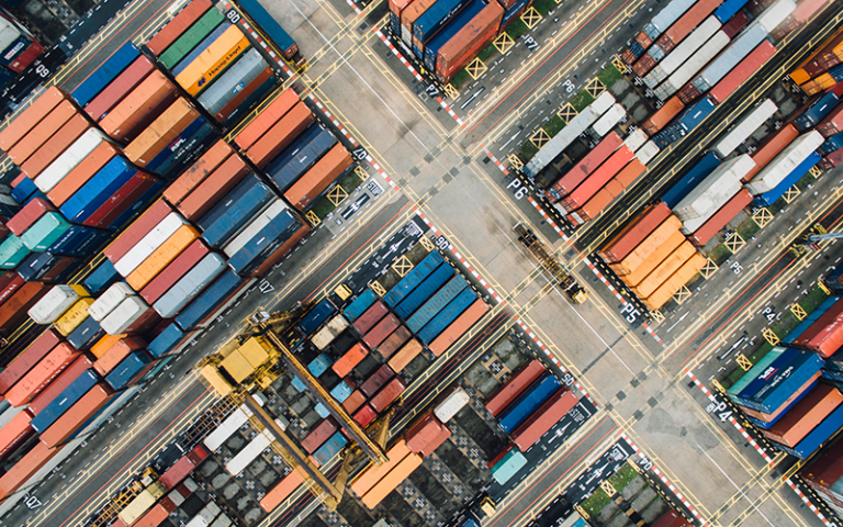 Aerial photograph of shipping containers