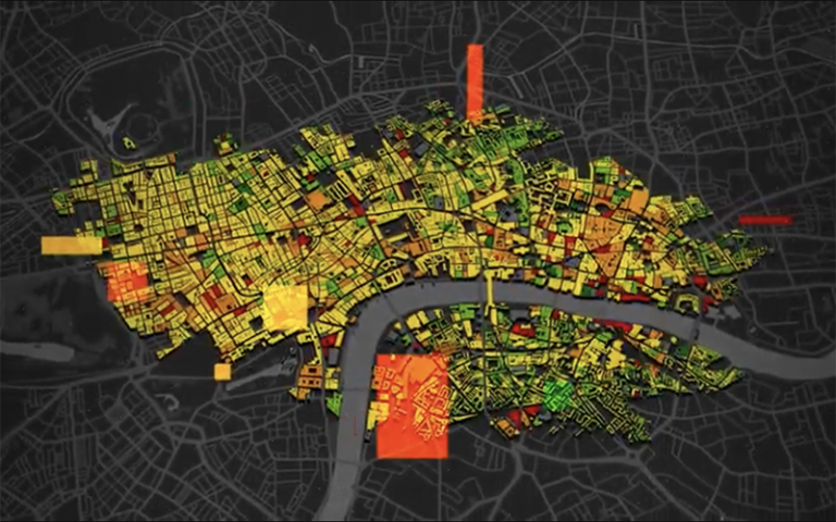 Image shows the 3DStock map of London with buildings colour-coded based on energy data