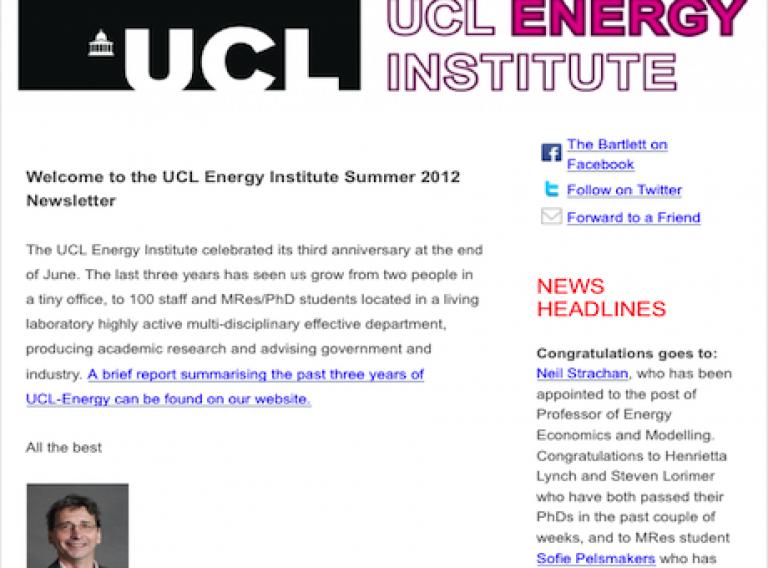 UCL-Energy Summer 2012 newsletter