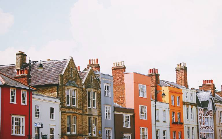 A colourful terrace of houses