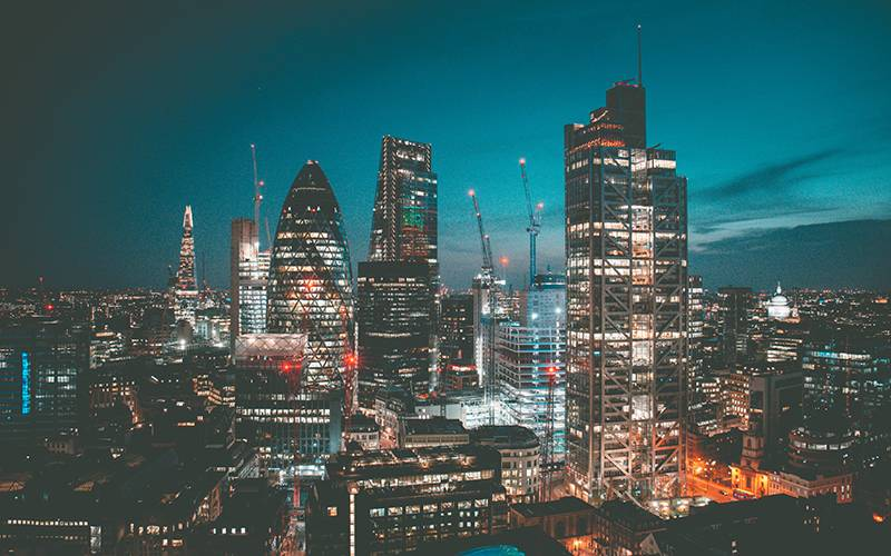 Photo of the City of London at night