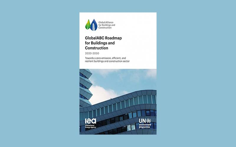 Image shows front cover of GlobalABC Roadmap for Buildings and Construction 2020-2050