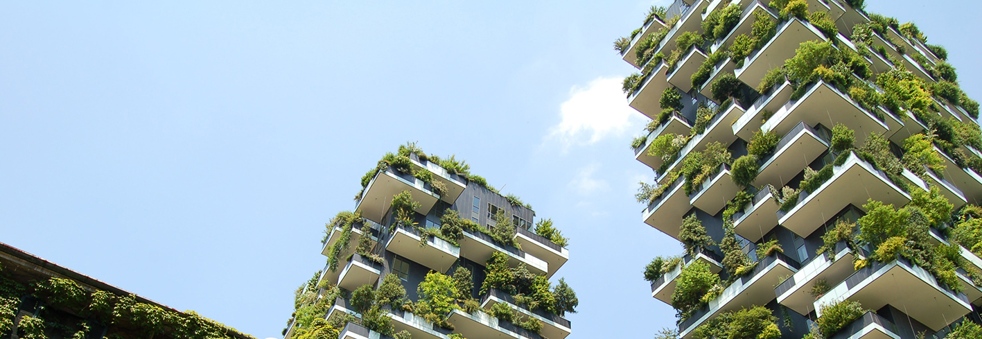 High rise buildings with integrated green walls