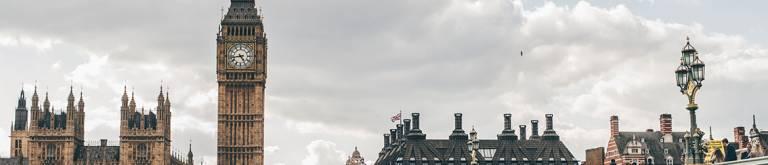 Big Ben, the Houses of Parliament and a segment of Waterloo Bridge