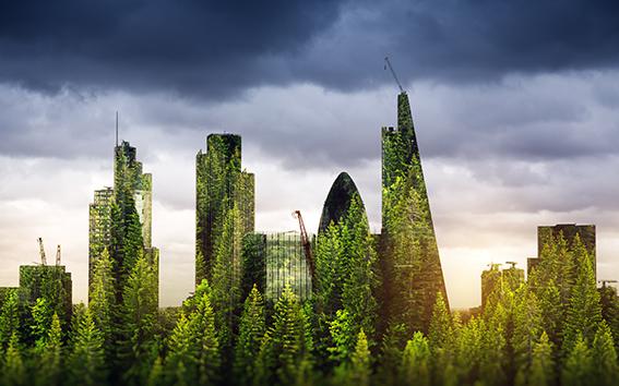 London skyline taken over by trees