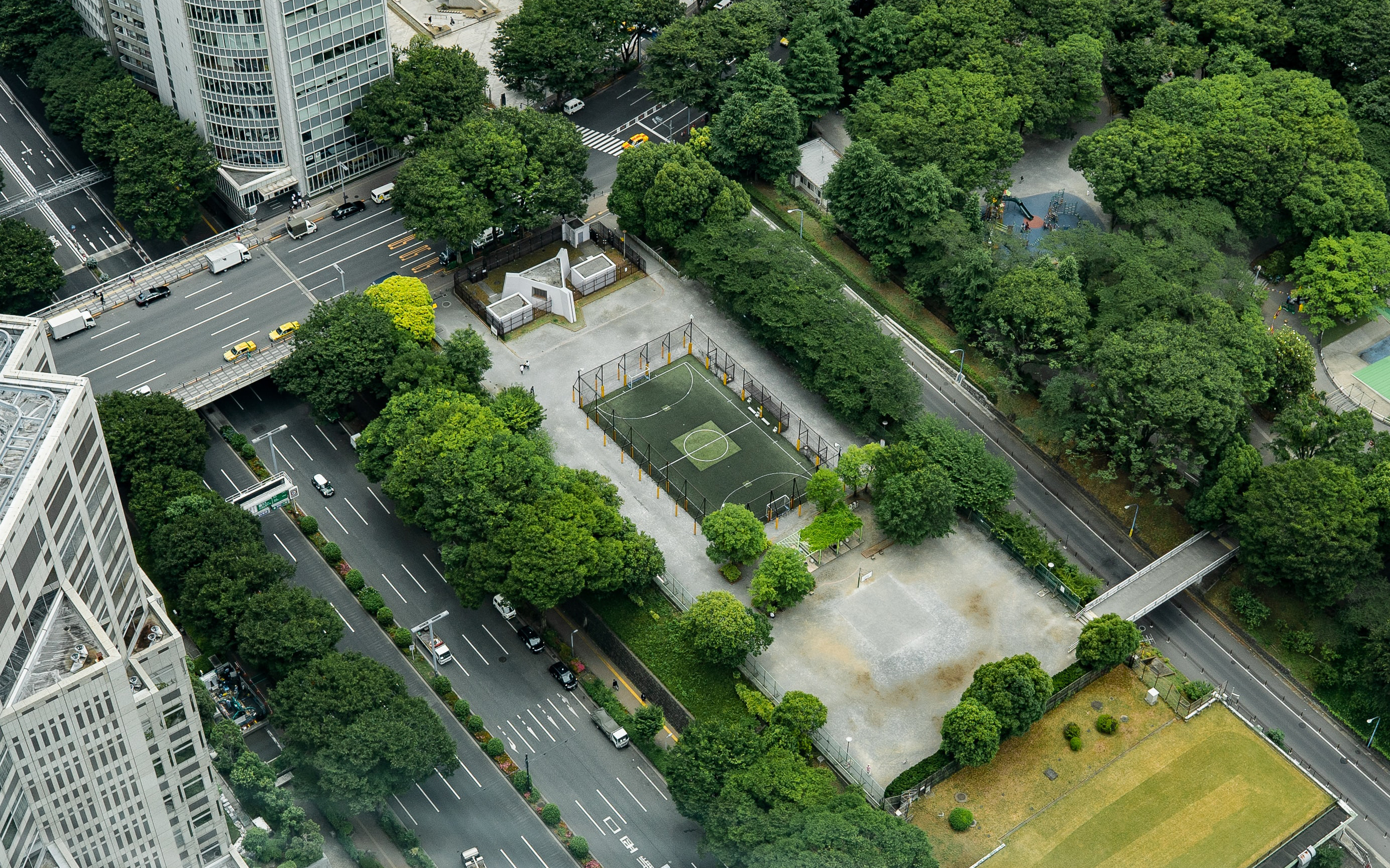 Aerial shot of city with trees