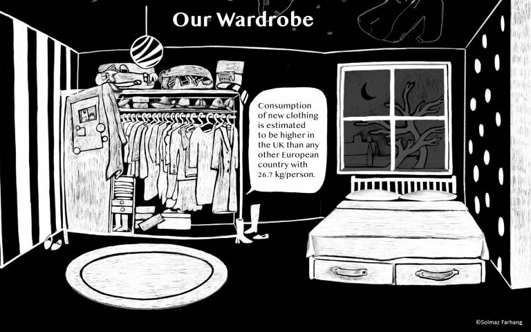 Black and white illustration our wardrobe. Figure 1 Clothes with Stories