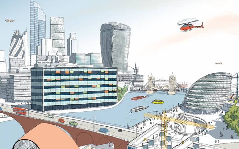 drawing of London over the river looking at Mayor's offices